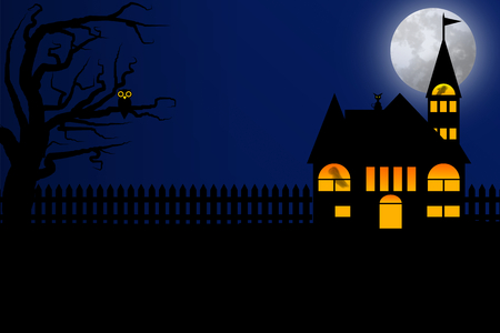 afterglow: Illustration of halloween night with dark blue sky and full moon, ghost in castle, cat on castle roof and owl on a tree