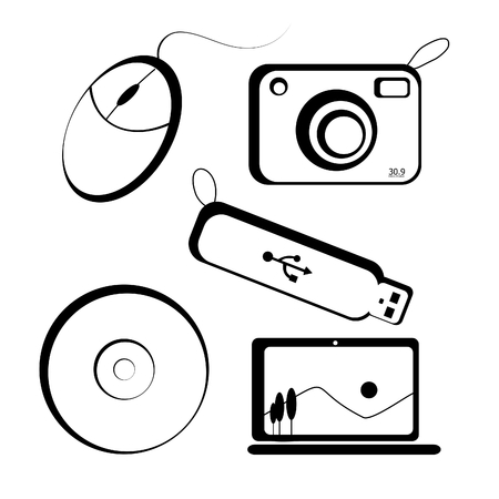 compact disk: Set of icon set pattern include mouse, camera, thumb drive, compact disk, and laptop
