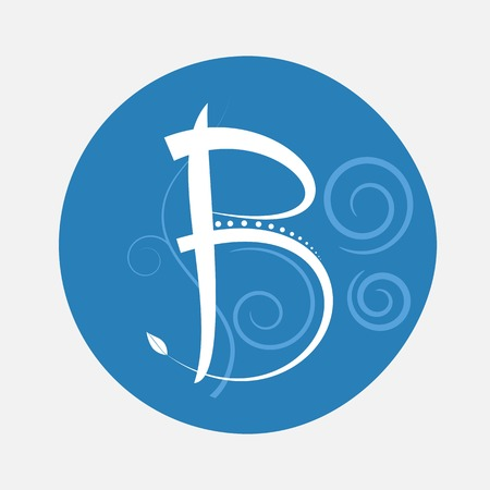 Nature alphabet letter B with creeping plant in blue circle pattern