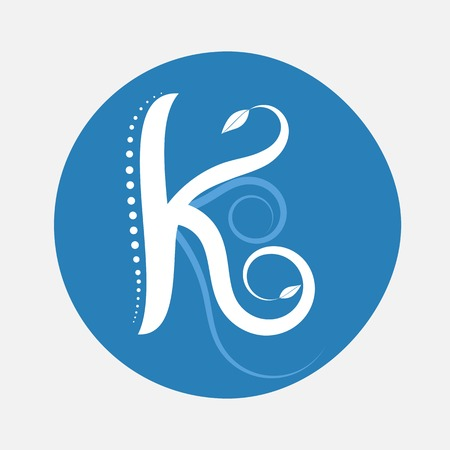 creeping: Nature alphabet letter K with creeping plant in blue circle pattern Illustration