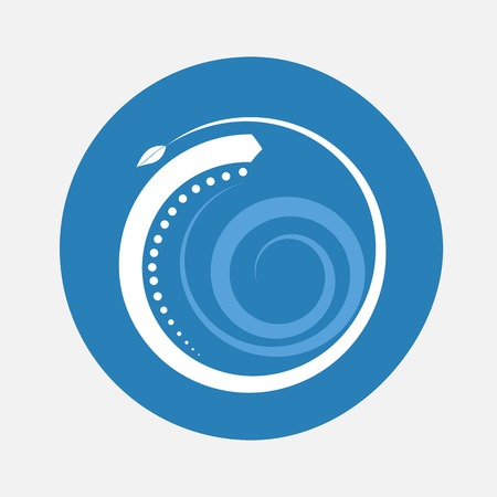 Nature alphabet letter O with creeping plant in blue circle pattern Illustration