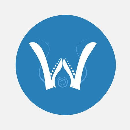 creeping: Nature alphabet letter W with creeping plant in blue circle pattern