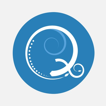 creeping: Nature alphabet letter Q with creeping plant in blue circle pattern Illustration