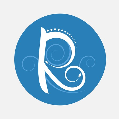Nature alphabet letter R with creeping plant in blue circle pattern