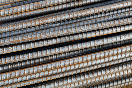 reinforcing bar: Reinforcing Steel Bar background, Rebar for concrete construction work Stock Photo