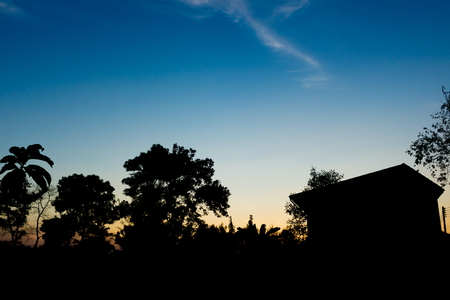 rural skyline: Beautiful blue sky sunset with siluate of tree and home in countryside