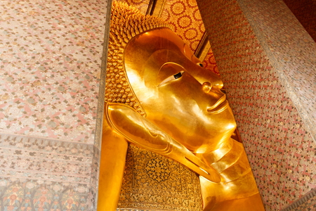 The Reclining Buddha, Wat Pho or Wat Phrachetuphon Wimonmangkhalaram Ratchaworamahawihan in Bangkok,Travel in Thailand Stock Photo