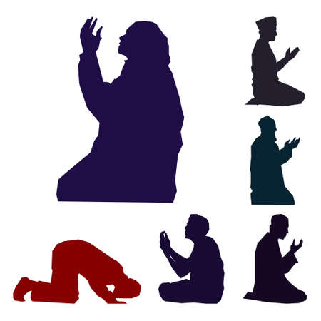 silhouette of man and woman pray, illustration vector graphic for welcome ramadan holy month of ramadhan kareem