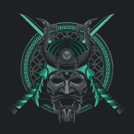 Vector samurai masker. Japans traditioneel krijgsmasker