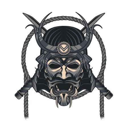 벡터 사무라이 마스크입니다. 일본 전통 무술 마스크 일러스트