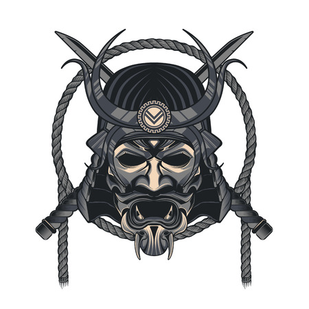 Vector samurai mask. Japanese traditional martial mask