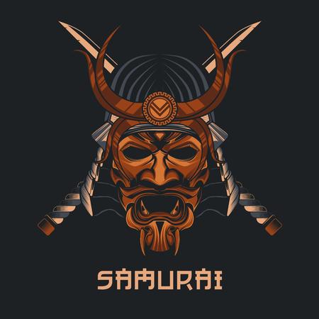 Masque de samouraï vectoriel. Masque martial traditionnel japonais