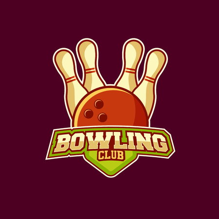 Vector label of bowling club