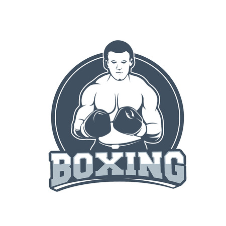 Boxing club and martial arts badge/label in vintage style