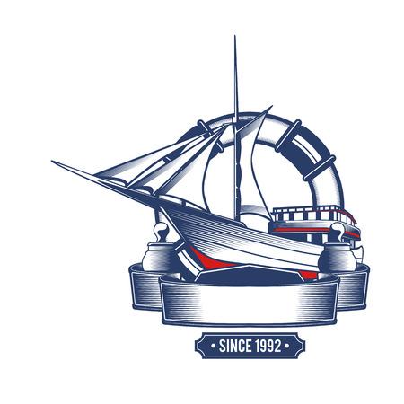paddle wheel: Nautical icon Illustration