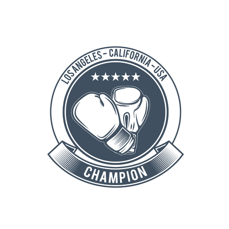Boxing club and martial arts badge in vintage style 矢量图像