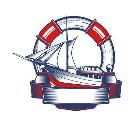Nautical Anchor Crest Stock Illustratie