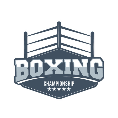 Boxing club and martial arts badge in vintage style Иллюстрация