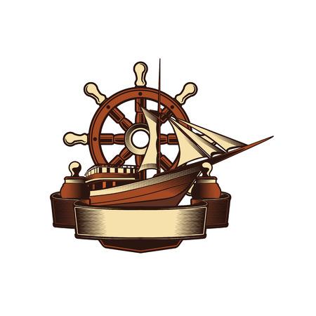 Nautical Anchor Crest Illustration