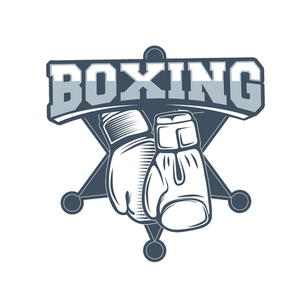 Boxing club and martial arts logo badgelabel in vintage style