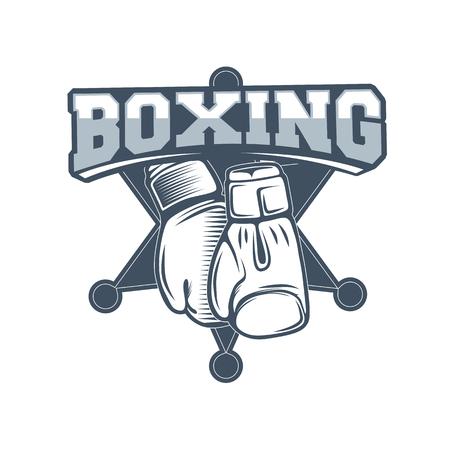 Club de boxeo y logotipo de artes marciales insignia  etiqueta en estilo vintage