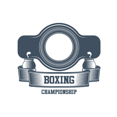 Boxing club and martial arts logo badge/label in vintage style