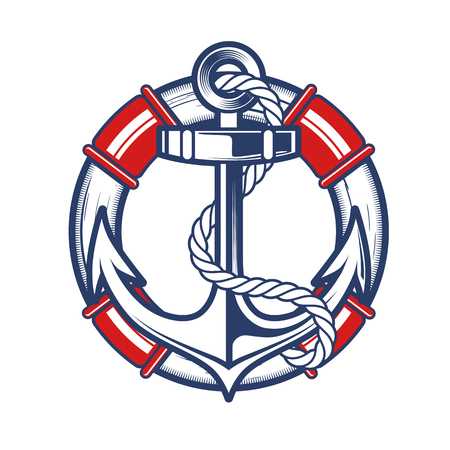 Nautical Anchor Crest Vector illustration. Çizim