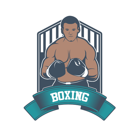 Boxing club badge in vintage style.