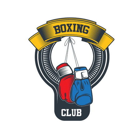 hitting: Boxing club and martial arts badge in vintage style. Illustration