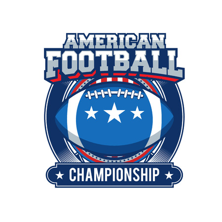 Vectoretiket van Amerikaanse die voetbal op witte achtergrond, vectorillustratie wordt geïsoleerd.