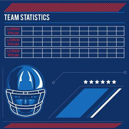 Vectoretiket van Amerikaans voetbal met statistieken