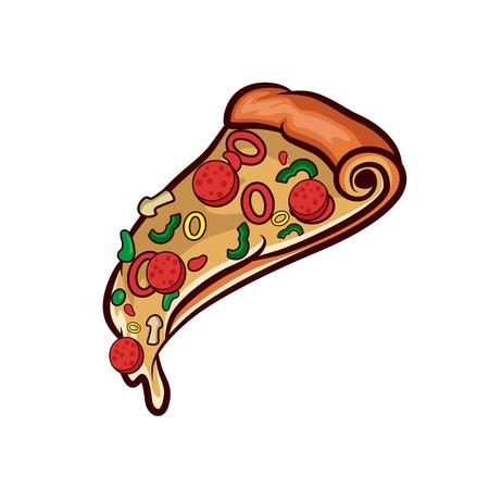Pizza on white background Illustration