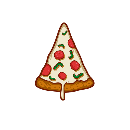 Pizza on white background Ilustrace