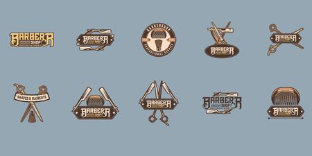 Set of vintage barber shop badges and emblems