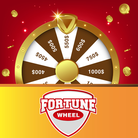 Realistic 3d spinning fortune wheel, lucky roulette vector illustration