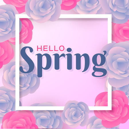 Hello Spring Flowers Text Background Zdjęcie Seryjne - 95336155