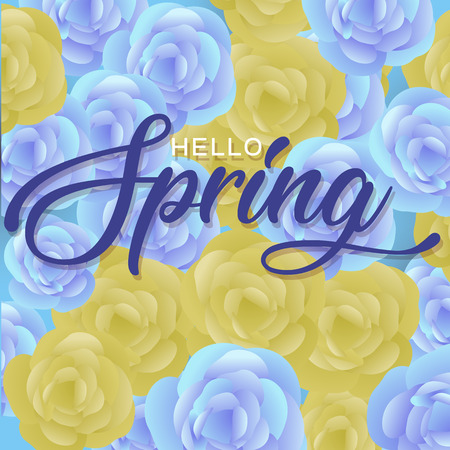 Hello Spring Flowers Text Background