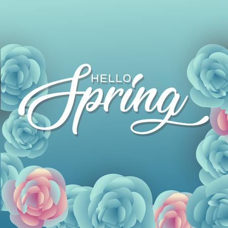 Hello Spring Flowers Text BackgroundHello Spring Flowers Text Background