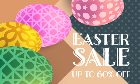 Happy Easter sale banner with geometric background Illustration