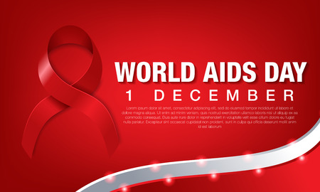 World aids day banner with red ribbon, vector, illustration