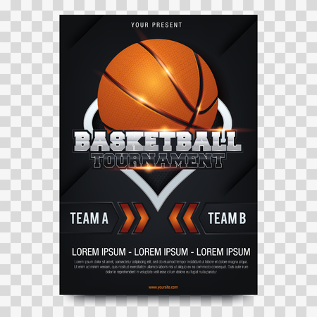Basketball Poster with Basketball Ball. Basketball Playoff Advertising. Sport Event Announcement Ilustração