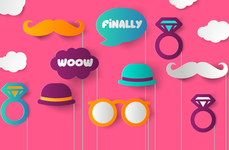Set of Hen Party photobooth Props vector elements Vector Illustration