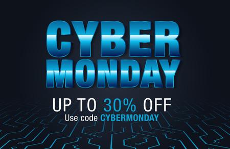 Vente du Cyber lundi. Bannière d'offre spéciale, remise Vecteurs