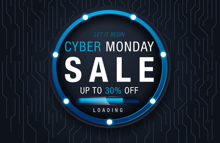 Cyber Monday Sale Background for Good Deal Promotion. Cyber Monday Banner and Label for Website