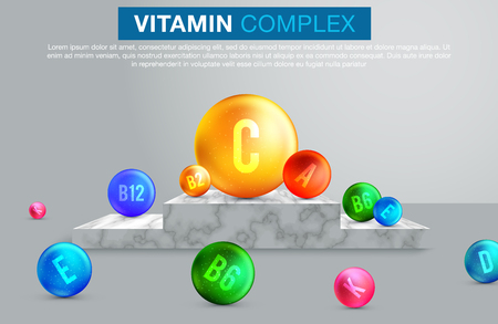 Vitamin and mineral complex 3d banner of dietary supplement and medicines