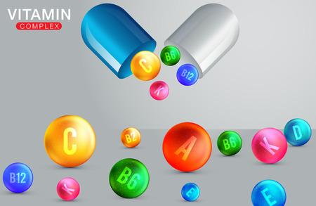 Multi Vitamin complex icons. Vitamin A, B group - B1, B2, B3, B5, B6, B9, B12, C, D, E, K multivitamin supplement logo Ilustração