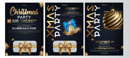 Vector illustration of Happy New Year 2019 and Merry Christmas brochure, flyer, party, holiday invitation, corporate celebration. Gold ball, star, gift, snowflake composition on black background Ilustrace