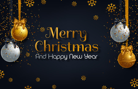 vector illustration of happy new year 2019 gold and black collors place for text christmas balls Illustration