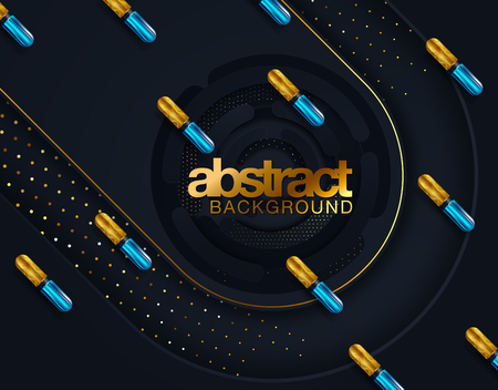 Modern trendy cover design. Vector 3d illustration of liquid golden metallic capsules. Abstract background with colorful gold shapes Çizim