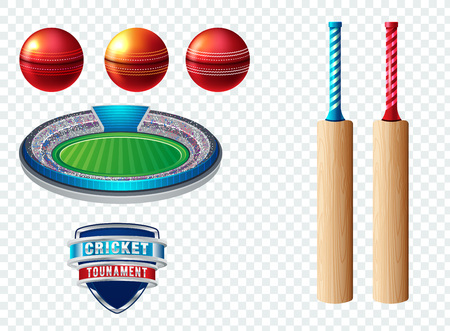 Set of cricket sports template logo elements - ball, bat. Use as icons, badges, label designs or print. Vector illustration sport championship Vettoriali